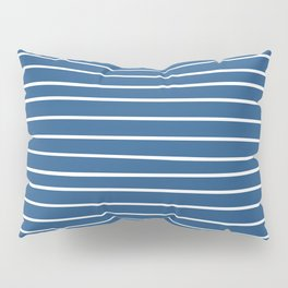 Colorful Stripes, Blue and White, Abstract Art Pillow Sham