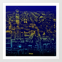 Chicago city lights at night Art Print