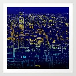 Chicago city lights at night Art Print