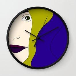 Fair Woman Drawing Blue Hair Abstract Portrait Wall Clock