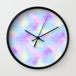 Pastel Blue Mermaid Tail Abstraction. Magic Fish Scale Pattern Wall Clock