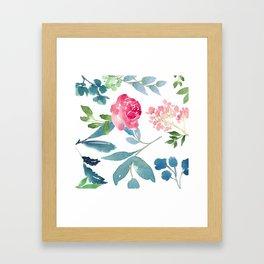 Floral on White Framed Art Print