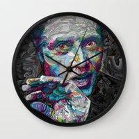 christopher walken Wall Clocks featuring christopher walken portrait  by Godhead