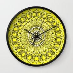 Yellow Sunshine Bohemian Mandala Wall Clock