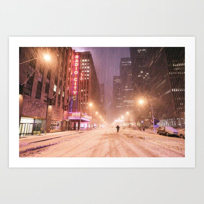New York City - Blizzard and City Streets Art Print