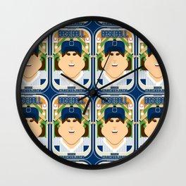 Baseball Blue Pinstripes - Deuce Crackerjack - June version Wall Clock