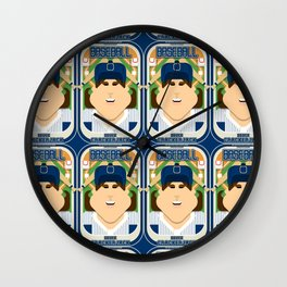 Baseball Blue Pinstripes - Deuce Crackerjack - June version Wall Clock