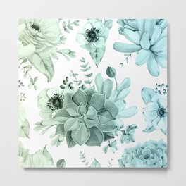 Simply Succulent Garden in Turquoise Green Blue Gradient Metal Print