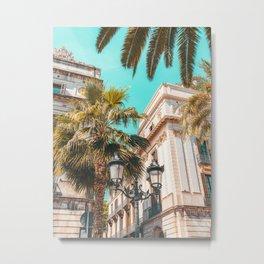 Royal Square Barcelona, City Travel Print, Placa Reial Barcelona, Urban Architecture Travel Print, Palm Tree Barcelona Metal Print