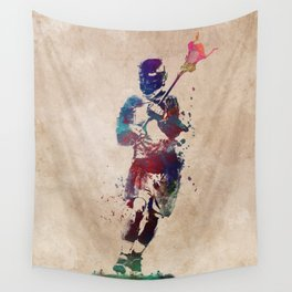 Lacrosse player art 2 Wall Tapestry