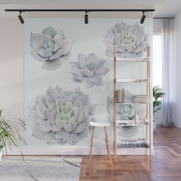 Blue Succulents Wall Mural