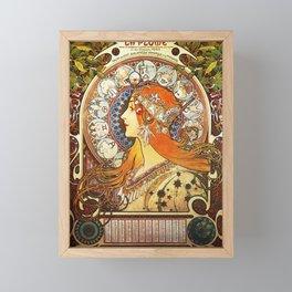 Alphonse Mucha La Plume Zodiac Framed Mini Art Print