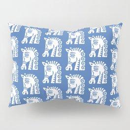 Mid Century Horse Pattern Blue Pillow Sham
