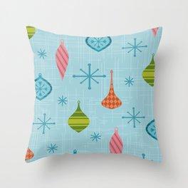Mid Century Modern Christmas Ornaments Throw Pillow