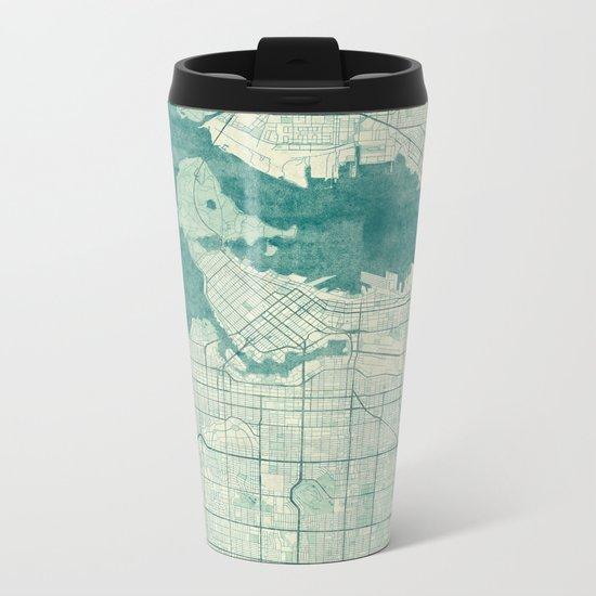 Vancouver Map Blue Vintage Metal Travel Mug
