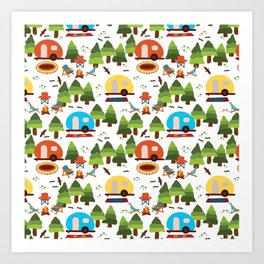 Campsite with caravans, campfire, camping chairs, trees, carpet, birds. Camping in the forest. Campground. RV. Camp night. Big scale. Art Print
