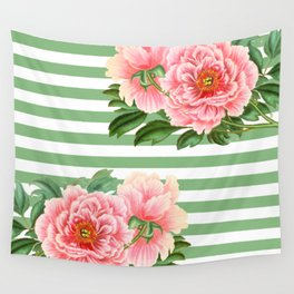 Pink Peonies Green Stripes Wall Tapestry