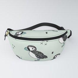 Cute Icelandic Puffin birds mint pattern Fanny Pack