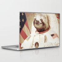 astronaut Laptop & iPad Skins featuring Sloth Astronaut by Bakus