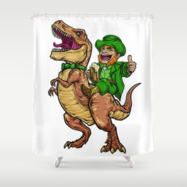 Leprechaun Rides T-Rex | Happy St. Patrick's Day Shower Curtain