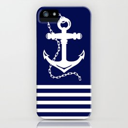 AFE Navy & White Anchor and Chain iPhone Case