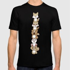 Woodland Creature Totem Pole Mens Fitted Tee SMALL Black
