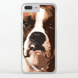 Unhappy Brown and White Dog Clear iPhone Case