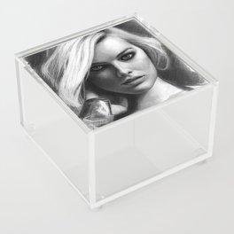 Margot Robbie Pencil Sketch Acrylic Box