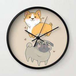 Corgi and pug Wall Clock