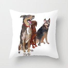 watercolor dog vol2 Pointer, Coonhound, Alaskan Throw Pillow