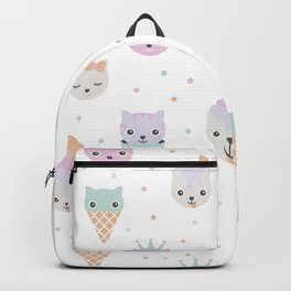 Kawaii breeze summer kitty cupcake cats and snow one ice cream kittens Backpack