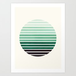 Deep Green Mid Century Modern Minimalist Scandinavian Colorful Stripes Geometric Pattern Round Circl Art Print