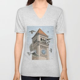 Clock Tower with Swallows Unisex V-Neck