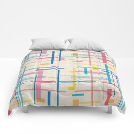 Geometric Fall In Line Glitch Comforters