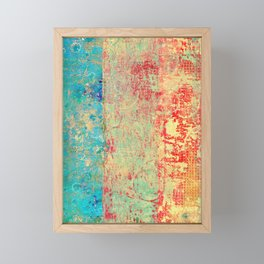 Brilliant Encounter, Abstract Art Turquoise Red Framed Mini Art Print