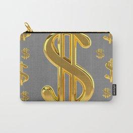GOLDEN MONEY DOLLARS & CHARCOAL GREY  PATTERN MODERN ART Carry-All Pouch