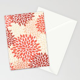 Floral Pattern, Orange, Red, Peach, Pale Yellow, Flowers Print Stationery Cards