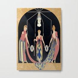 """Art Deco Design """"The Three Graces"""" by Erté Metal Print"""