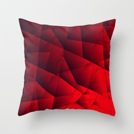 Bright contrasting red fragments of crystals on triangles of irregular shape. Throw Pillow