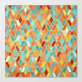 Tangerine & Turquoise Geometric Tile Pattern Canvas Print
