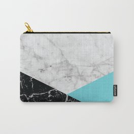 Geometric White Marble - Black Granite & Teal #871 Carry-All Pouch