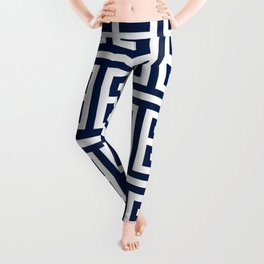 Dark Navy Blue and White Greek Key Pattern Leggings