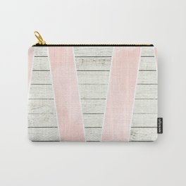 Modern blush pink watercolor triangles stripe wood Carry-All Pouch