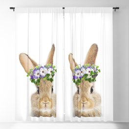 Bunny Flowers Crown Art Print by Zouzounio Art Blackout Curtain