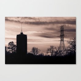 Tulsa Silhouettes and Cloudy Skies - University Tower Morning Canvas Print