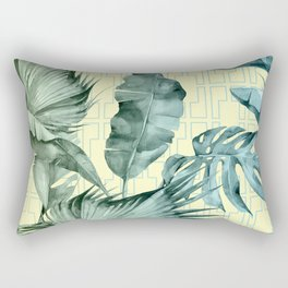 Simply Island Mod Palm Leaves on Pale Yellow Rectangular Pillow