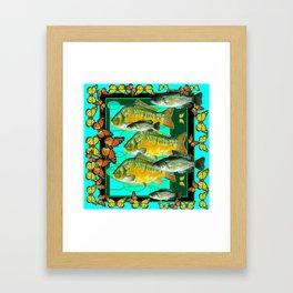 MONARCH BUTTERFLIES OCHER  FISH TURQUOISE BLUE ART Framed Art Print