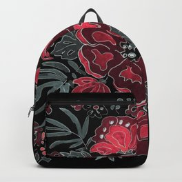 Digital processing of watercolor. Red-pink flowers Backpack