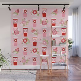 Coffee valentines day florals cute coffee lovers gifts that say i love you Wall Mural