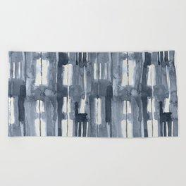 Simply Shibori Lines in Indigo Blue on Lunar Gray Beach Towel
